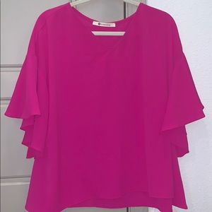 Fuchsia Top with bell sleeves